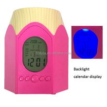 New Fashion Multicolour Cute Plastic Pen Holder with clock, fancy pen holder School & Office Supplies