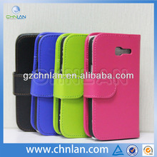 High quality flip leather cover case for samsung galaxy trend lite s7390