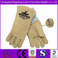 Apricot color A grade cow split leather Welding Gloves with sewing black flame retardant lining