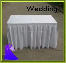 factory price ruffled table skirt for wedding banquet/party/hotel