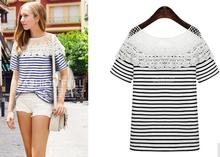 New design women tops ladies stripe short sleeve woman cotton fashion lace t shirt