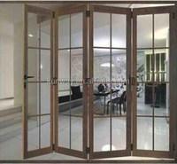 Popular Designs Double Tempered Glass Aluminium Door Glass Folding Doors