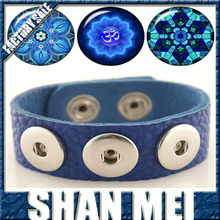 24 CM full grain leather bracelet with 3 Royal Blue Charms fit Ginger snaps