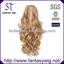 ST long curly white golden claw hair extensions to ponytail
