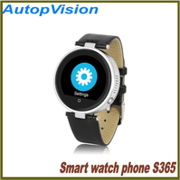 "1.22"" fashion smart watch round touch screen wristwatch bluetooth phone S365 leather strap health monitor"
