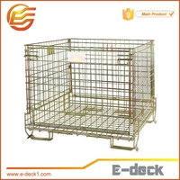 Folding shipping container wire mech container for PET preform storage