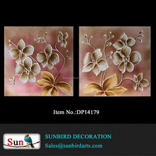 Oil painting abstract home decoration Hand painted orchid flower with pink and antique color background canvas painting