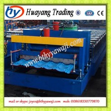 Russia Glazed Roof Tile Roll Forming Machine , Stepped Tiles Cold Channel Machine