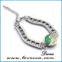2015 Hot Selling Round Snake Connected String Loops Snap Button Bracelet, Double-Deck Fastness Alloy Snap Bracelet