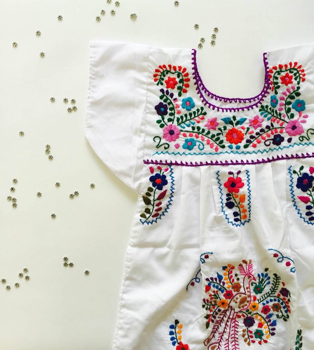 2016 Boho Hand Embroidery Design Cotton Dress For Baby Gril Kids