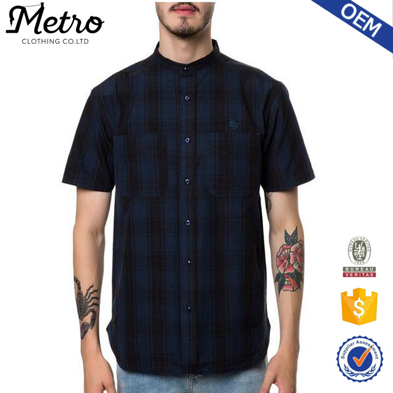 custom made cheap plaid stand collar shirt for men buy