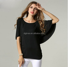hot sale popular spandex black stretchy t shirt bat wing t-shirts fat women black stretchy women t-shirt
