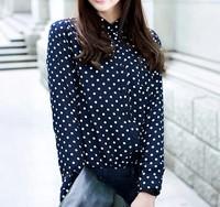 2015 quality fashion blouse factory sexy chiffon summer dot print korea blouse