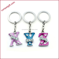Factory Offer Bowtie Rhinetone Enamel Zinc Alloy Pendant Letter Key Chains