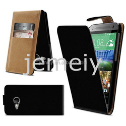 New Plain Flip PU Leather Case Cover for HTC ONE M8 mini with Card Slots