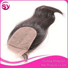 Sy Best Quality Virgin Hair Cheap Brazilian Silk Base Lace Closure Bleached Knots