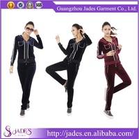 High quality 2pcs Warm Winter Womens Track Suit Sport Hoodie Sweat Jacket Pants Set Suit