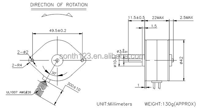 S42PM robotic dc step motor,42mm diameter stepper motor,printer stepper motor