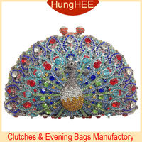 Beautiful Crystal Party Clutch Bag Luxury Peacock Shape Bridal Evening Crystal Purse IF-HC2043