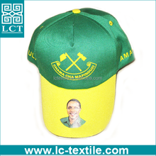 supply 2015 latest custom design heat transfer printed promotional baseball cap for Tanzania president election(LCTN1538)