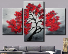 Hand Painted Abstract Wall Pictures For Living Room Red Tree 3 Piece Oil Painting On Canvas Decoration Home Modern Art Set