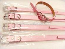 Matte Finish Light Pink PU Leather 1.8cm Width Economical Diy Pet Dog Collars