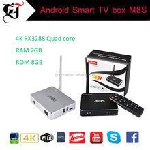 M8S Tv Box RK3288 2G Ram 8G Rom wifi Android 4.4 Customized Kodi Skin Addons Fully Loading Free
