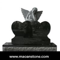Polished Black Double Heart Angle American Granite Tombstone