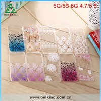 Flower Pattern TPU Diamond Case For iPhone 6, For iPhone 6 Slim Transparent Case TPU Cover