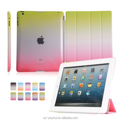 Manufactory Rainbow PU Leather Four Folded Stand Flip Cover Smart Housing Awakening Case for iPad 2/3/4 for Apple 2/3/4 Tablet