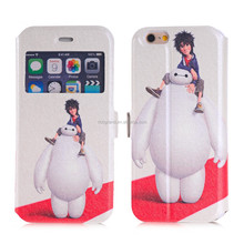 Wholesale cute fashion cartoon PU leather flip window view case cover for iphone 6 6plus