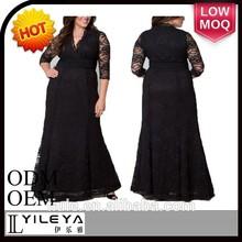 oem elegante diseñado las mujeres gordas vestido de encaje de los patrones