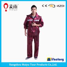 Plastic reversible colol man rain jacket with Silk luster
