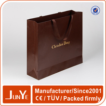 Customised fancy famous brand ribbon tie paper bags for gift