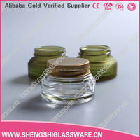 20ml Squat Shaped Clear Empty Cosmetic Cream Bottle Glass with Lid