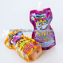 Liquid stand up packaging bags with spout plastic spout bag for beverage