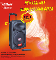 professional active full plastic portable 12 inch battery trolley speaker with usb,sd,fm