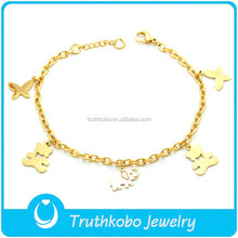 TKB-B0200 2015 fashion baby girl jewelry chubby bears,elephant and butterfly wristbands gold 316L stainless steel charm bangle