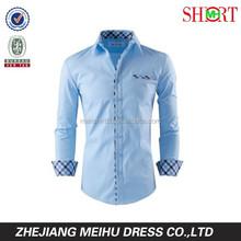 100% algodão luz azul slim fit camisas vestido