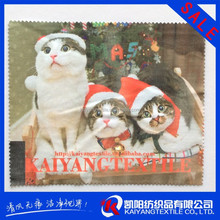 cute cats hot transfer printing electric black microfiber cleaning cloth SGS approved
