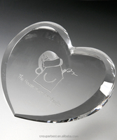 Beveled Heart Shape Crystal Clear Acrylic Paperweight