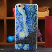 For iphone 5/6 plus tpu case painted famous oil painting back housing