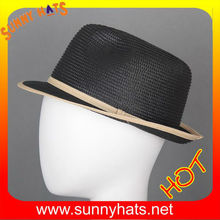 PP Braided waterproof stingy fedora crush hats black from hats factory