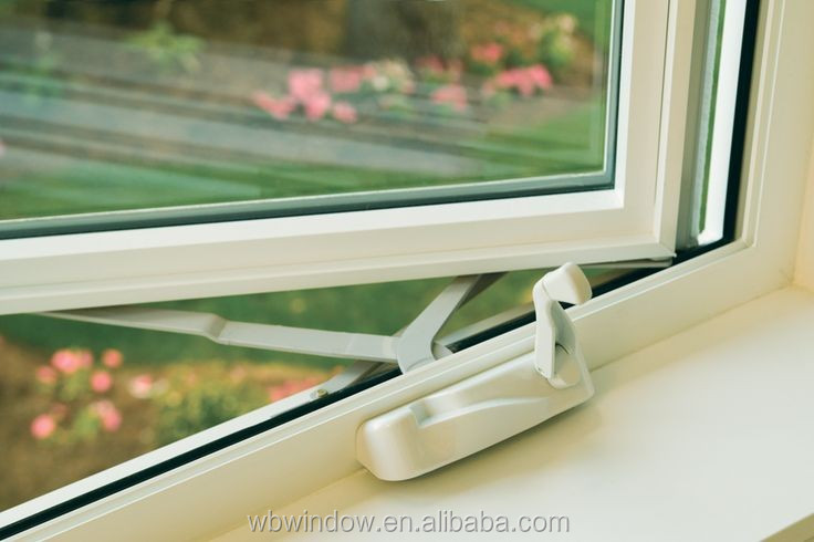 Crank Out Windows House Design : Latest house brown color upvc crank open window grill
