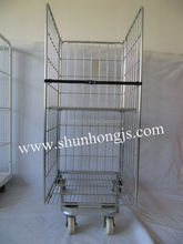 laundry storage roll trolley cage container with wheel