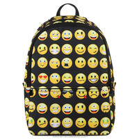 2015 fashion trend backpack with cute expression printed school backpack
