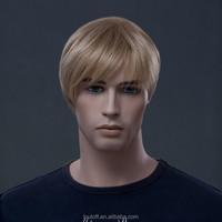 2015 New Arrival Hot Selling men's wig Charming fashion business men blonde 100% Kanekalon Fiber Synthetic wig