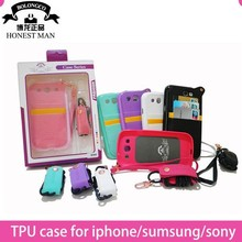 Multiple smart phone neck phone wallet for iphone 6 6 plus leather hand bag for iphone 4 5 wholesale
