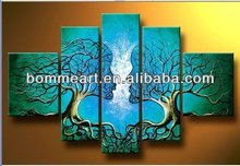 hand-painted oil wall art Blue tree human body home decoration Landscape Framed oil painting on canvas 5pcs/set mixorde