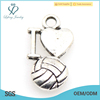 New arrival silver sport charm,silver heart charm jewelry in high quality